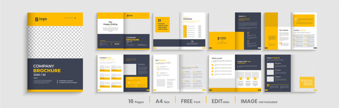 Professional brochure template layout design, yellow shapes, business profile template design, 16 pages, annual report,minimal, editable businss brochure.