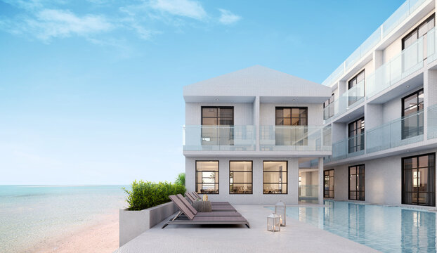 Sea view.Luxury modern white beach hotel with swimming pool.Sunbed on sundeck for vacation home or hotel.3d rendering