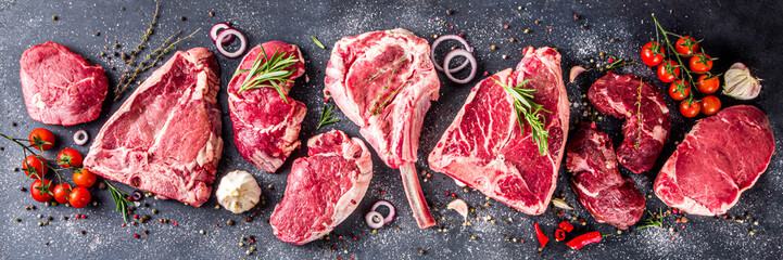 Canvas Prints Countryside Set of various classic, alternative raw meat, veal beef steaks - chateau mignon, t-bone, tomahawk, striploin, tenderloin, new york steak. Flat lay top view on gray stone cutting table