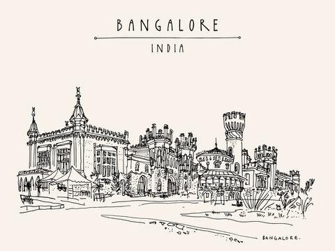 Bangalore, Karnataka, India. Beautiful Bangalore palace. Vintage hand drawn postcard