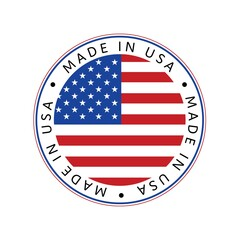 American National Holiday. Made in USA icon. US Flags with American stars, stripes and national colors.