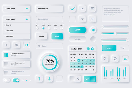 User interface elements for finance mobile app. Financial analytics, time management and planning gui templates. Unique neumorphic ui ux design kit. Manage, navigation, search form and components.