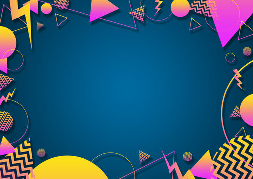 A turquoise, pink and yellow retro vaporwave 90's style random geometric shapes border with vibrant neon color palette on a radial gradient background
