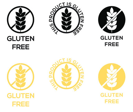 Gluten Free Label icon symbol of no wheat or gluten in this food package celiac allergy or dietetic product nutrition stamp