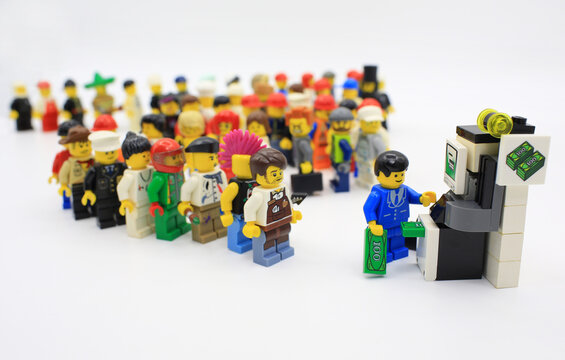 HONG KONG,MARCH 1: lego mini characters display in hong kong on 1 March 2015. Lego minifigure are the successful line in Lego products