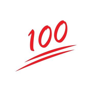 100% percent emoji. One hundred percent sign. Vector