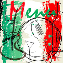 menu card design template for restaurant, with strokes and splashes, grungy, italian food