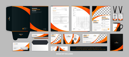 Orange elegant BRAND identity stationary & SOCIAL MEDIA Premium Vector set