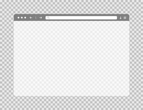 Transparent web browser window. Template of website page. Empty mockup of internet website. Isolated browser screen with blank page. Search bar in moder flat style. Vector EPS 10.