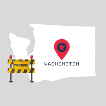 Washington map with warning sign barrier. Covid-19 outbreak concept illustration on gray background . Travel ban, area under control, restricted entry, health, business risk, danger, virus alert