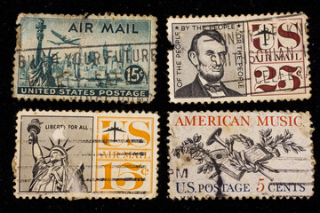 Old UNITED STATES OF AMERICA Airmail Stamps