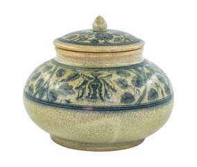 a traditional chinese porcelain jar in Dark blue and white color with lid