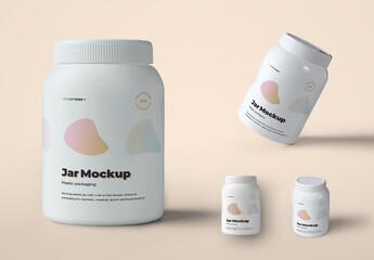 4 Mockups Plastic of Wide Jars