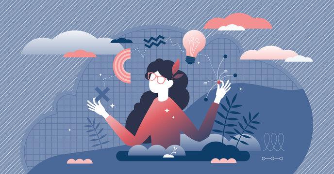 Generating ideas vector illustration. Creative flat tiny persons concept.