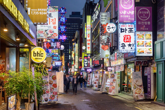 Amazing evening view of narrow street at downtown, Seoul