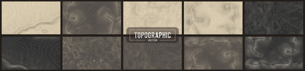 Set of 10 Topographic map contour backgrounds. Topo map with elevation. Contour map vector. Geographic World Topography map grid abstract vector illustration .