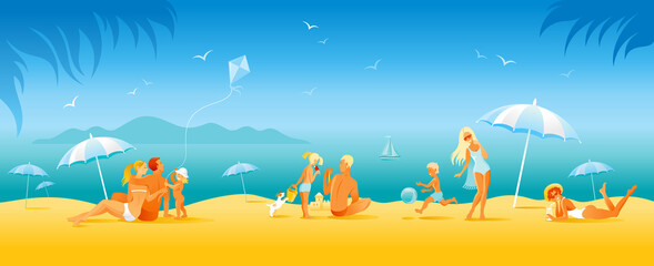 Fotorolgordijn Blauw Family beach vacation banner. Summer sea travel background in cartoon style. People fun vector illustration. Happy woman, man, children, kid with sunny beach landscape pattern. Outdoor lifestyle