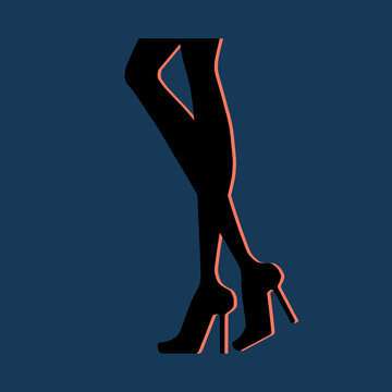 Woman leg in heels, silhoutte, line, colorful, abstract illustration