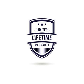Limited Lifetime Warranty Logo Icon Vector Template Design Illustration
