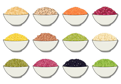 Set of beans and legumes in bowl