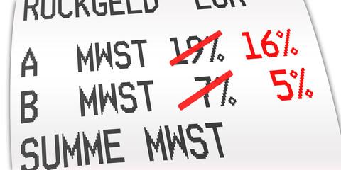 Door stickers Wall Decor With Your Own Photos ngb12 NewGraphicBanner ngb - german: Mehrwertsteuer, Kaufbeleg, Kassenbon, Mehrwertsteuersatz von 19 Prozent auf 16 % und von 7 Prozent auf 5 %. - Quittung - financial / invoice - deutsch 2to1 - g9732