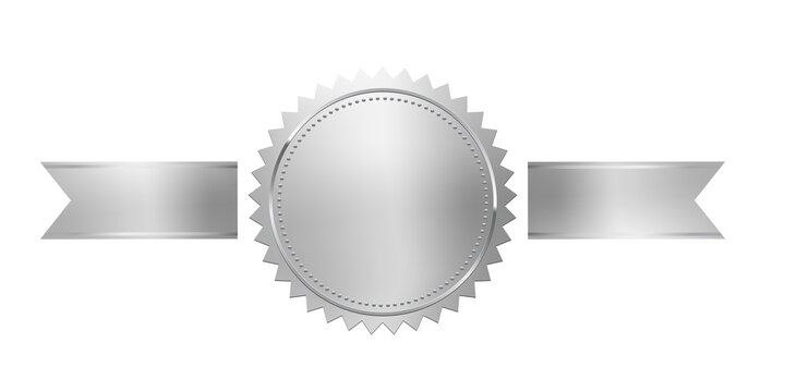 Silver stamp with horizontal ribbons isolated on white background. Luxury chrome seal. Vector design element.