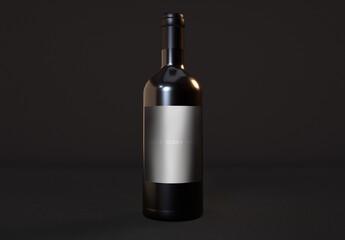 Single Dark Wine Bottle Mockup