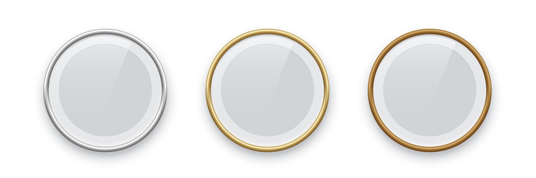 Round podium frames. Golden, silver and bronze borders isolated on white background. Vector illustration