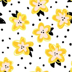 Painterly doodle flowers gold yellow orange black seamless pattern. Repeating modern abstract background.