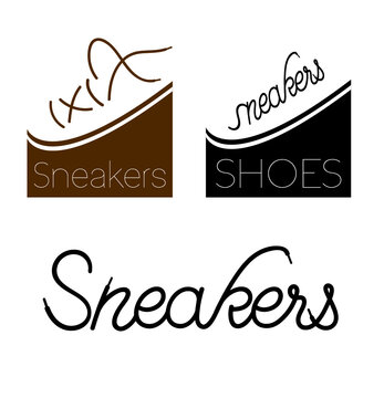 Sneakers shoes fashion, shoelaces, logo graphic vector illustration.