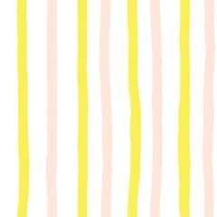 Vertical pink and yellow hand drawn painterly stripes on white seamless background. Repeating striped doodle background.