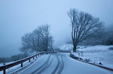 Snowy summit landscape, Gran Canaria, Spain