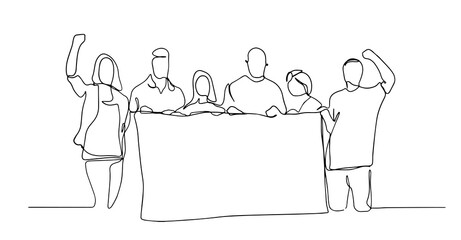 People holding a blank paper roll. continuous one line drawing, vector illustration. Continuous one line drawing group of people holding blank signboard. illustration concept. People on a meeting.