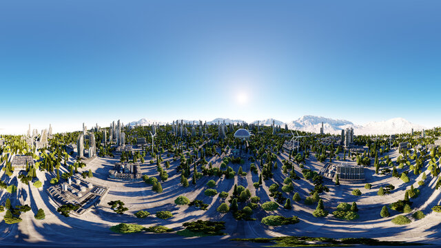 360 degrees. futuristic city, town. Architecture of the future. Aerial view. 3d rendering. spherical panorama