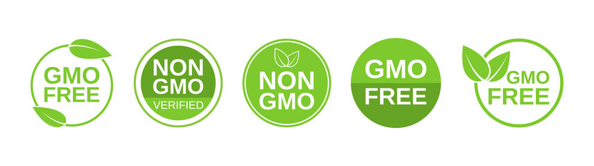 GMO free icons. Non GMO label set. Healthy organic food concept. No GMO design elements for tags, product packag, food symbol, emblems, stickers. Vegan, bio. Vector illustration