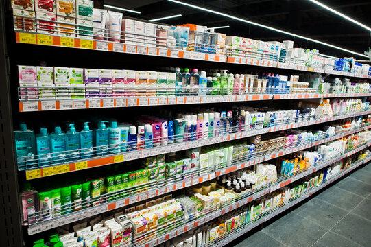Kiev, Ukraine - September 4, 2019: Silpo supermarket. Feminine hygiene creams on the shelf of store.