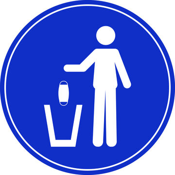 Sign of a person throwing a face mask in a trash can. Coronavirus, COVID-19 virus waste. Flat vector illustration