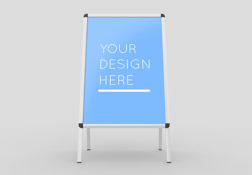 Advertising A-Stand Mockup with Editable Background