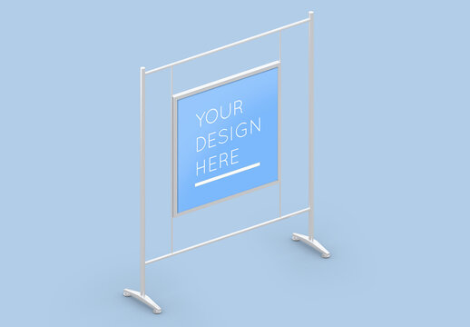 Square Poster Advertising Display Stand Mockup with Editable Background