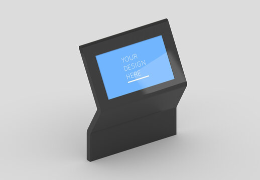 Isometric Interactive Shopping Mall Kiosk Screen Mockup with Editable Background