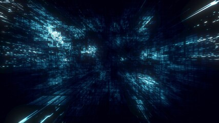 3D illustration of Blue futuristic abstract digital virtual reality matrix particles grid cyber space sci-fi and fantasy symmetry environment technology flyer background  Fototapete
