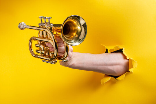Hand showing a pocket trumpet through a torn hole in yellow paper background