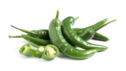 Canvas Prints Hot chili peppers Cut and whole green hot chili peppers on white background