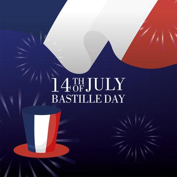bastille day celebration card with france flag in tophat