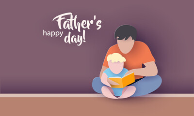 Young man with his baby son reading book