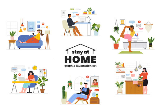 Stay at Home Illustrations Set