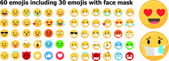 Set of 60 emojis including emojis with face mask, Covid 19 emojis with protective mask