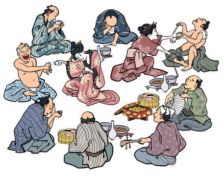 浮世絵-和服の宴会