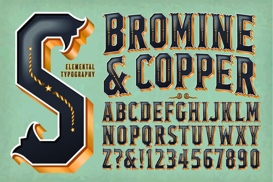 An Ornate Retro-Styled Alphabet with 3d golden metallic effects