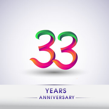 33rd anniversary celebration logotype green and red colored. ten years birthday logo on white background.